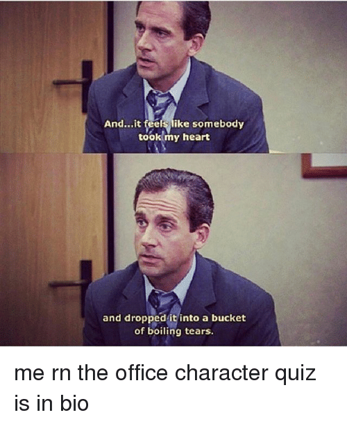 Memes, The Office, and Heart: And...it feels like somebody  took my heart  and dropped it into a bucket  of boiling tears. me rn the office character quiz is in bio