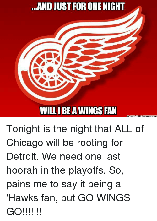Chicago, Detroit, and Hockey: AND JUST FOR ONE NIGHT  WILLIBE A WINGS FAN Tonight is the night that ALL of Chicago will be rooting for Detroit. We need one last hoorah in the playoffs. So, pains me to say it being a 'Hawks fan, but GO WINGS GO!!!!!!!
