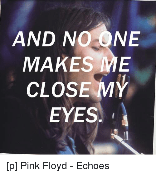 And NO ONE MAKES ME CLOSE MY EYES P Pink Floyd - Echoes