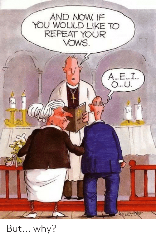 Terrible Facebook, A&e, and Why: AND NOW, IF  YOU WOULD LIKE TO  REPEAT YOUR  VOWS  A...E..I  O... U But... why?