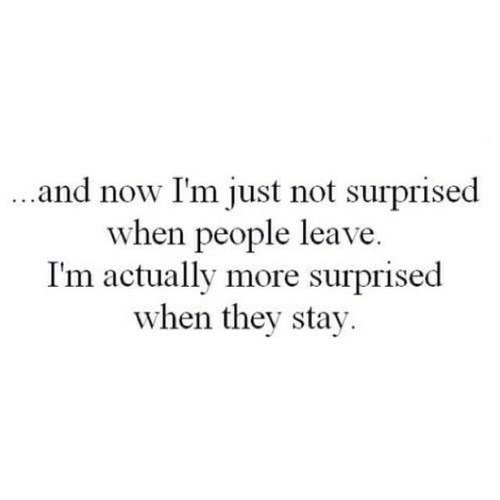 They, Now, and Stay: and now I'm just not surprised  when people leave  I'm actually more surprised  when they stay