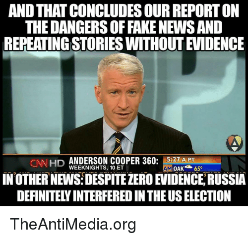 and thatconcludessour reporton the dangersoffake news and repeatingstorieswithout evidence cnn 9775825 ✅ 25 best memes about anderson cooper 360 anderson cooper 360