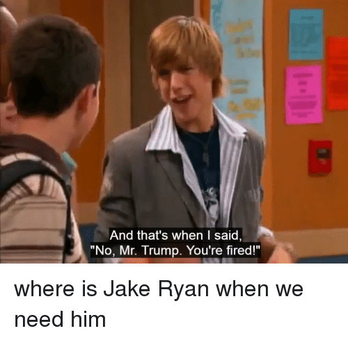 """Funny, Jake Ryan, and Jake: And that's when I said  """"No, Mr. Trump. You're fire where is Jake Ryan when we need him"""