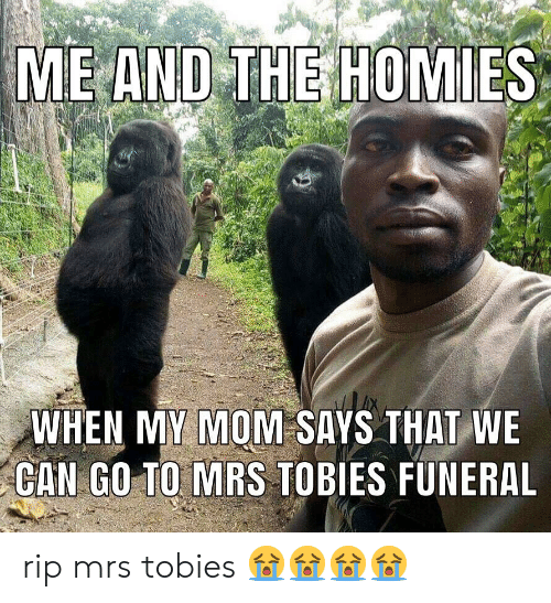 Mom, Can, and Mrs: AND THE HOMIES  WHEN MY MOM SAYS THAT WE  CAN GO TO MRS TOBIES FUNERAL rip mrs tobies 😭😭😭😭