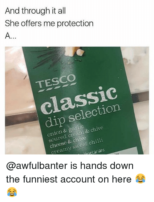 Memes, Chive, and Onion: And through it all  She offers me protection  TESCO  classic  dip selection  onion & gatlic  soured creamm & chive  cheese & chive  creamy sweet chilli  aetarians @awfulbanter is hands down the funniest account on here 😂😂