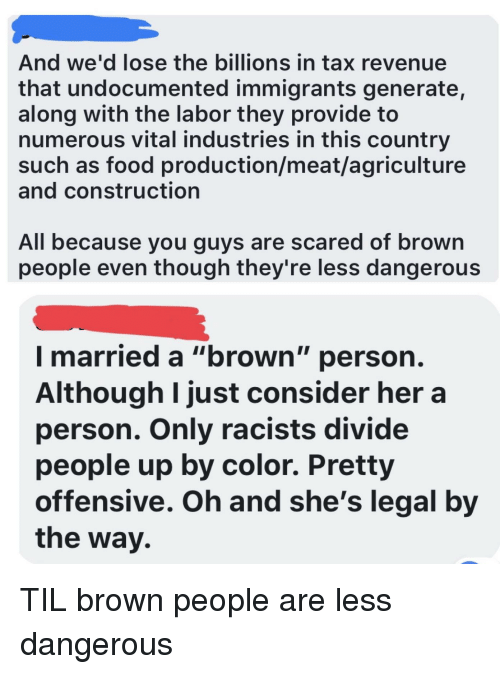 """Food, Construction, and Her: And we'd lose the billions in tax revenue  that undocumented immigrants generate,  along with the labor they provide to  numerous vital industries in this country  such as food production/meat/agriculture  and construction  All because you guys are scared of brown  people even though they're less dangerous  I married a """"brown"""" person  Although I just consider her a  person. Only racists divide  people up by color. Pretty  offensive. Oh and she's legal by  the way."""