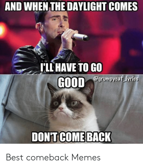 Memes, Best, and Good: AND WHEN THE DAYLIGHT COMES  I'LL HAVE TO GO  GOOD  grumpycaf lyric  DON'T COME BACK Best comeback Memes