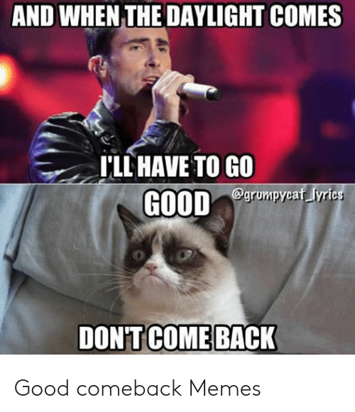 Memes, Good, and Lyrics: AND WHEN THE DAYLIGHT COMES  I'LL HAVE TO GO  @grumpycaf lyrics  GOOD  DON'T COME BACK Good comeback Memes