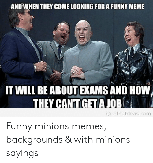 Funny, Meme, and Memes: AND WHEN THEY COME LOOKING FOR A FUNNY MEME  IT WILL BE ABOUTEXAMS AND HOW  THEY CAN'TIGET A JOB  QuotesIdeas.com Funny minions memes, backgrounds & with minions sayings
