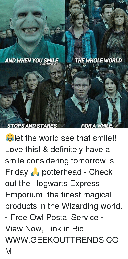 Definitely, Friday, and Love: AND WHEN YOU SMILE  FIREFAWKESS  STOPS AND STARES  THE WHOLE WORLD  FOR A WHI 😂let the world see that smile!! Love this! & definitely have a smile considering tomorrow is Friday 🙏 potterhead - Check out the Hogwarts Express Emporium, the finest magical products in the Wizarding world. - Free Owl Postal Service - View Now, Link in Bio - WWW.GEEKOUTTRENDS.COM