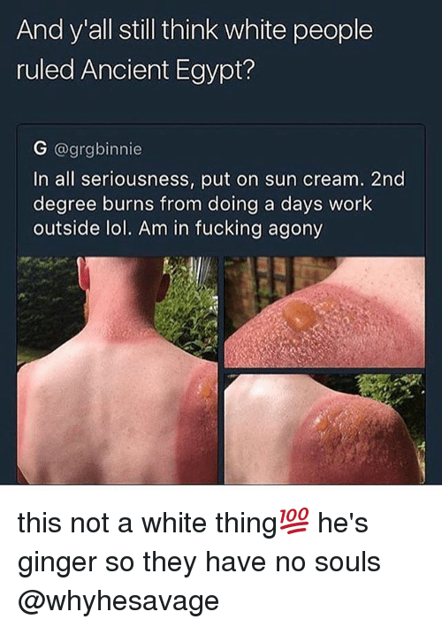 Fucking, Lol, and Memes: And y all still think white people  ruled Ancient Egypt?  G @grgbinnie  In all seriousness, put on sun cream. 2nd  degree burns from doing a days work  outside lol. Am in fucking agony this not a white thing💯 he's ginger so they have no souls @whyhesavage
