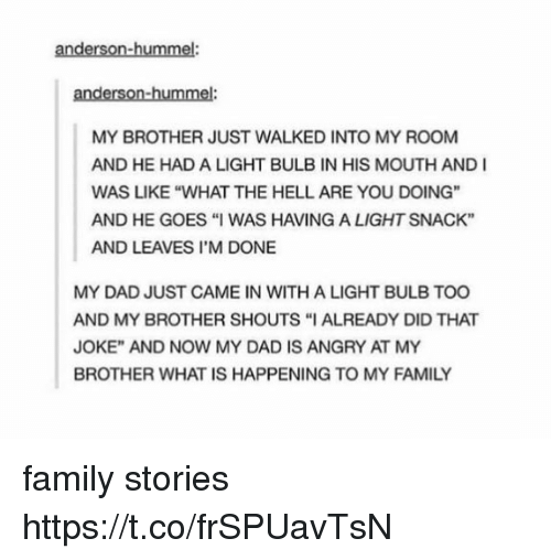 "Dad, Family, and What Is: anderson-hummel:  anderson-hummel  MY BROTHER JUST WALKED INTO MY ROOM  AND HE HAD A LIGHT BULB IN HIS MOUTH AND I  WAS LIKE ""WHAT THE HELL ARE YOU DOING""  AND HE GOES ""I WAS HAVING A LIGHT SNACK""  AND LEAVES I'M DONE  MY DAD JUST CAME IN WITH A LIGHT BULB TOO  AND MY BROTHER SHOUTS ""I ALREADY DID THAT  JOKE"" AND NOW MY DAD IS ANGRY AT MY  BROTHER WHAT IS HAPPENING TO MY FAMILY family stories https://t.co/frSPUavTsN"