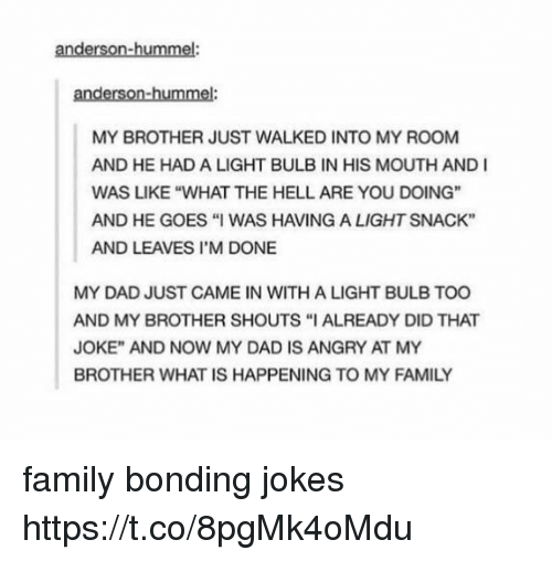 "Dad, Family, and Jokes: anderson-hummel:  anderson-hummel:  MY BROTHER JUST WALKED INTO MY ROOM  AND HE HAD A LIGHT BULB IN HIS MOUTH AND I  WAS LIKE ""WHAT THE HELL ARE YOU DOING""  AND HE GOES ""I WAS HAVING A LIGHT SNACK""  AND LEAVES I'M DONE  T CAME IN WITHAL  MY DAD JUST CAME IN WITH A LIGHT BULB TOO  AND MY BROTHER SHOUTS ""I ALREADY DID THAT  JOKE"" AND NOW MY DAD IS ANGRY AT MY  BROTHER WHAT IS HAPPENING TO MY FAMILY family bonding jokes https://t.co/8pgMk4oMdu"