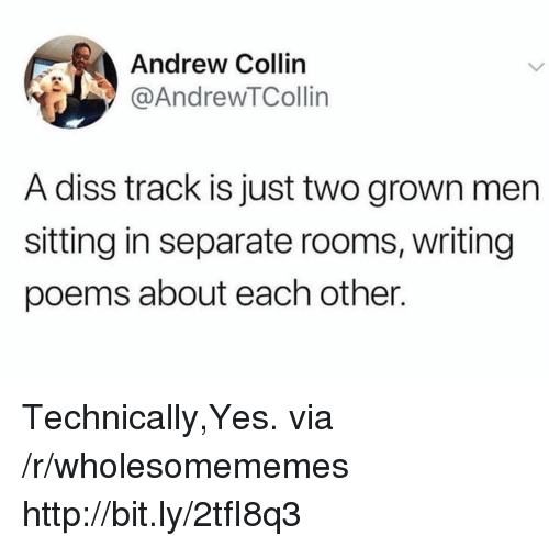 Diss, Http, and Poems: Andrew Collin  @AndrewTCollin  A diss track is just two grown men  sitting in separate rooms, writing  poems about each other. Technically,Yes. via /r/wholesomememes http://bit.ly/2tfI8q3