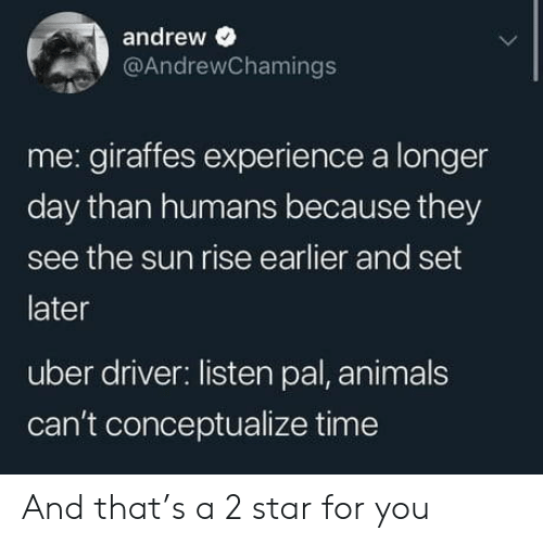Animals, Uber, and Star: andrew e  @AndrewChamings  me: giraffes experience a longer  day than humans because they  see the sun rise earlier and set  later  uber driver: listen pal, animals  can't conceptualize time And that's a 2 star for you