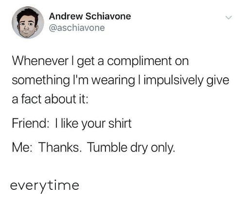Friend, Shirt, and Dry: Andrew Schiavone  @aschiavone  Whenever I get a compliment on  something I'm wearing impulsively give  a fact about it:  Friend: I like your shirt  Me: Thanks. Tumble dry only. everytime