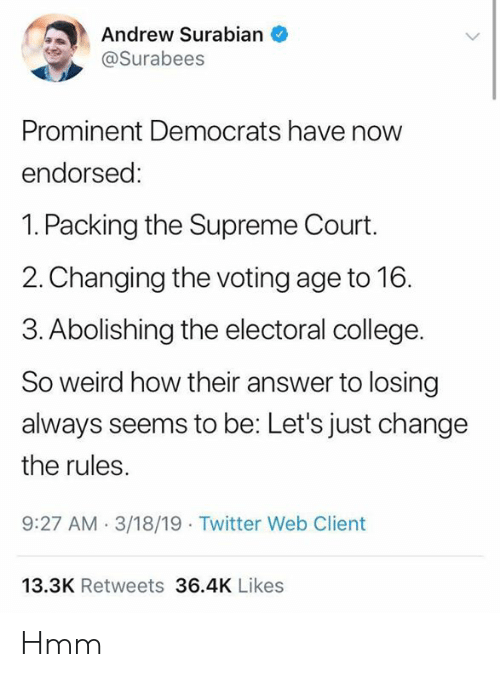 College, Memes, and Supreme: Andrew Surabian  @Surabees  Prominent Democrats have now  endorsed:  1. Packing the Supreme Court.  2.Changing the voting age to 16.  3. Abolishing the electoral college.  So weird how their answer to losing  always seems to be: Let's just change  the rules  9:27 AM.3/18/19 Twitter Web Client  13.3K Retweets 36.4K Likes Hmm