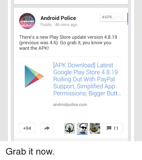 google play store update android police