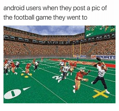 Android, Football, and Nfl: android users when they post a pic of  the football game they went to