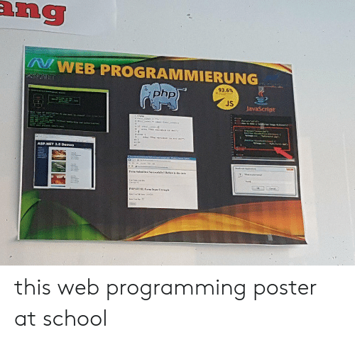 School, Programming, and Programmer Humor: ang  WEB PROGRAMMIERUNG  ASPINET  93.6%  php)  JS  JavaScript  ar  e  Ahor  ASP.NET 3.5 Demos  Term Subaitted Sercedalis Bee is the dac  PHP HTL Farm lapat Example this web programming poster at school