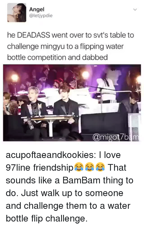 Love, Tumblr, and Angel: Angel  @letjypdie  he DEADASS went over to svt's table to  challenge mingyu to a flipping water  bottle competition and dabbed  @migot7b acupoftaeandkookies:  I love 97line friendship😂😂😂  That sounds like a BamBam thing to do. Just walk up to someone and challenge them to a water bottle flip challenge.