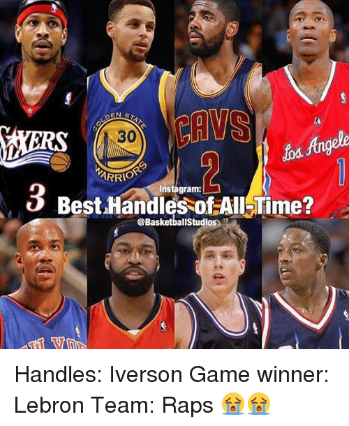 Instagram, Memes, and Best: Angele  30  ARRI  Instagram:  v Best.Handles of All Time?  @BasketballStudios Handles: Iverson Game winner: Lebron Team: Raps 😭😭