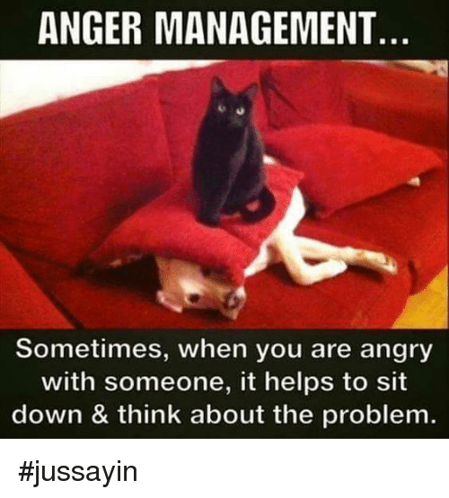 Dank, Help, and Angry: ANGER MANAGEMENT  Sometimes, when you are angry  with someone, it helps to sit  down & think about the problem. #jussayin