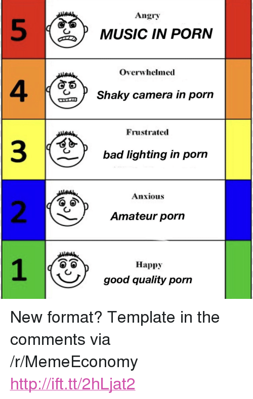 """Bad, Music, and Camera: Angry  5  4  3  2  MUSIC IN PORN  Overwhelmed  Shaky camera in porn  Frustrated  bad lighting in porn  Anxious  Amateur porn  Happy  good quality pon <p>New format? Template in the comments via /r/MemeEconomy <a href=""""http://ift.tt/2hLjat2"""">http://ift.tt/2hLjat2</a></p>"""