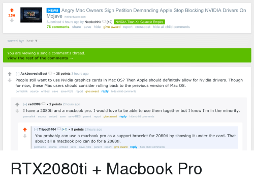 Angry Mac Owners Sign Petition Demanding Apple Stop Blocking NVIDIA