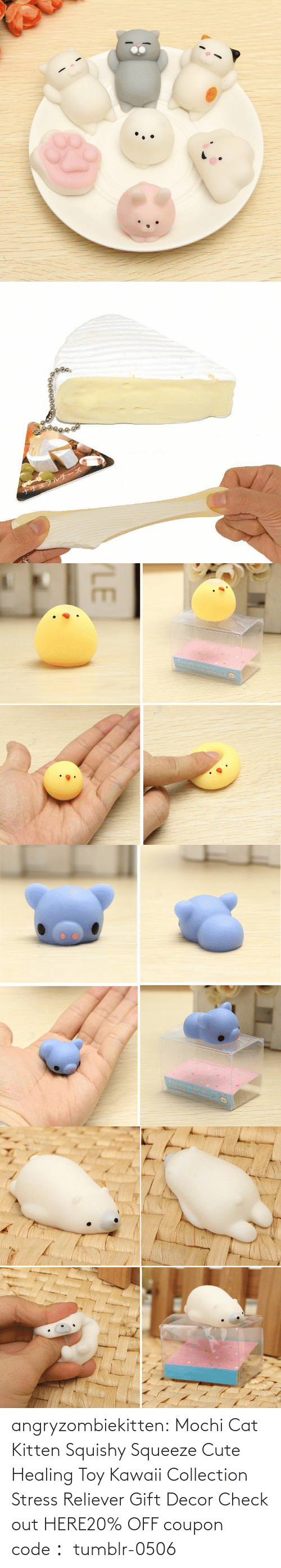 Cute, Tumblr, and Blog: angryzombiekitten:  Mochi Cat Kitten Squishy Squeeze Cute Healing Toy Kawaii Collection Stress Reliever Gift Decor Check out HERE20% OFF coupon code: tumblr-0506