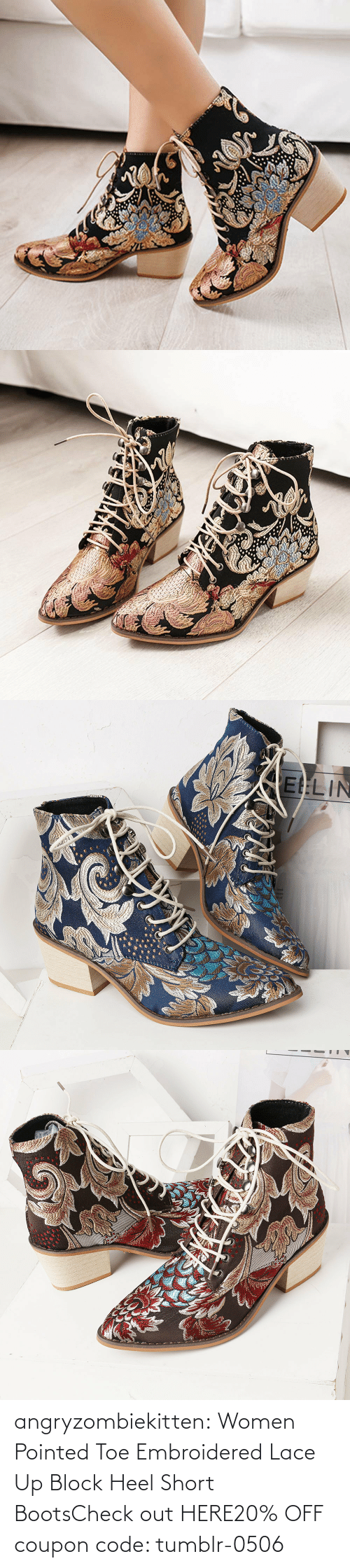 Tumblr, Blog, and Boots: angryzombiekitten:  Women Pointed Toe Embroidered Lace Up Block Heel Short BootsCheck out HERE20% OFF coupon code: tumblr-0506
