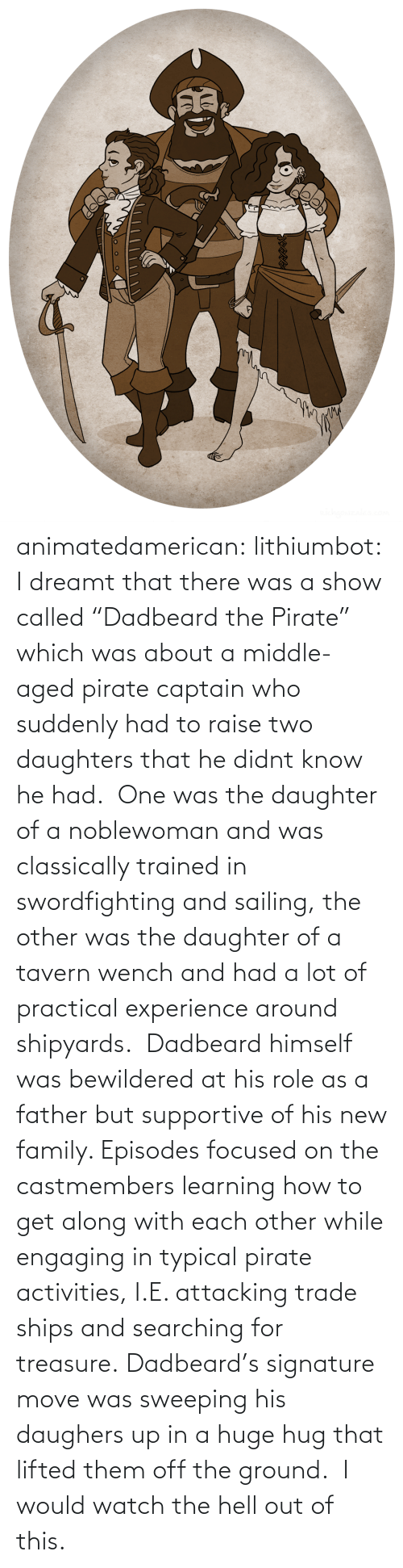 """Family, Tumblr, and Blog: animatedamerican: lithiumbot:  I dreamt that there was a show called""""Dadbeard the Pirate"""" which was about a middle-aged pirate captain who suddenly had to raise two daughters that he didnt know he had. One was the daughter of a noblewoman and was classically trained in swordfighting and sailing, the other was the daughter of a tavern wench and had a lot of practical experience around shipyards. Dadbeard himself was bewildered at his role as a father but supportive of his new family. Episodes focused on the castmembers learning how to get along with each other while engaging in typical pirate activities, I.E. attacking trade ships and searching for treasure. Dadbeard's signature move was sweeping his daughers up in a huge hug that lifted them off the ground.  I would watch the hell out of this."""