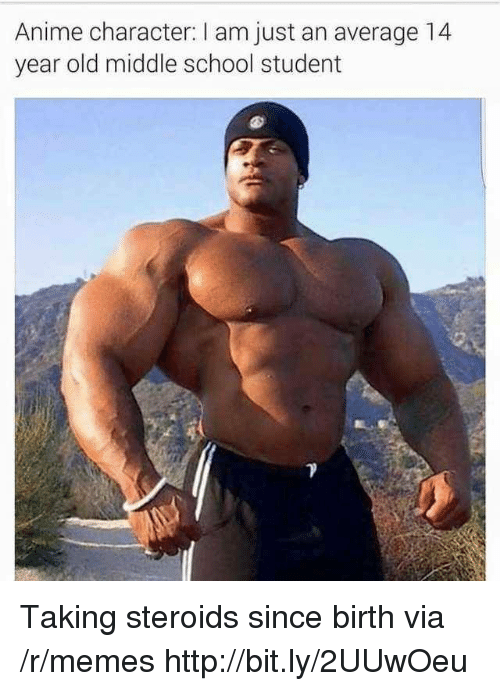 Anime, Memes, and School: Anime character: I am just an average 14  year old middle school student Taking steroids since birth via /r/memes http://bit.ly/2UUwOeu