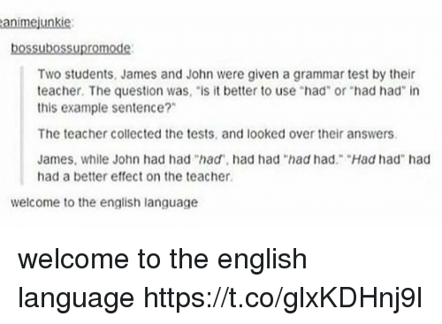 "Memes, Teacher, and Test: animejunkie  bossubossupromode:  Two students, James and John were given a grammar test by their  teacher. The question was, ""is it better to use ""had"" or ""had had in  this example sentence?""  The teacher collected the tests, and looked over their answers.  James, while John had had ""had, had had ""had had. Had had"" had  had a better effect on the teacher  welcome to the english language welcome to the english language https://t.co/glxKDHnj9l"