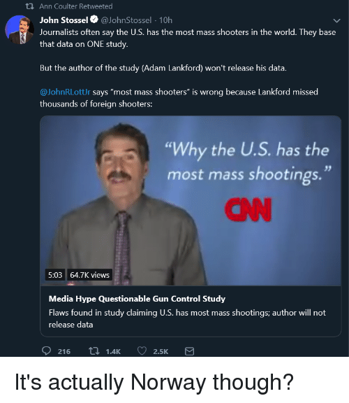 """cnn.com, Hype, and Shooters: Ann Coulter Retweeted  John Stossel@JohnStossel 10h  Journalists often say the U.S. has the most mass shooters in the world. They base  that data on ONE study.  But the author of the study (Adam Lankford) won't release his data  @JohnRLottUr says """"most mass shooters"""" is wrong because Lankford missed  thousands of foreign shooters:  """"Why the U.S. has the  most mass shootings.""""  CNN  5:03 64.7K views  Media Hype Questionable Gun Control Study  Flaws found in study claiming U.S. has most mass shootings; author will not  release data"""