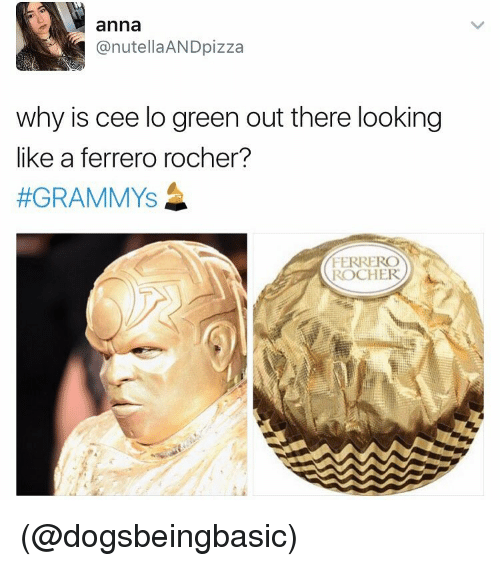 Funny, Meme, and Cee Lo Green: anna  @nutella AND pizza  why is cee lo green out there looking  like a ferrero rocher?  #GRAMMYS  FERRERO  ROCHER (@dogsbeingbasic)