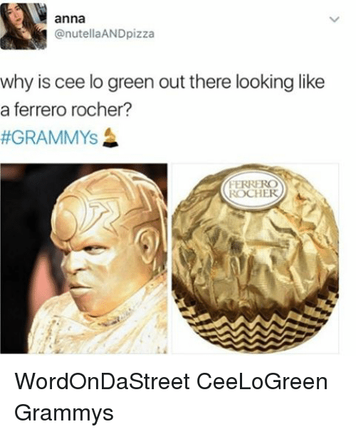 Memes, 🤖, and Cee Lo Green: anna  nutellaANDpizza  why is cee lo green out there looking like  a ferrero rocher?  GRAMMYS  ROCHER WordOnDaStreet CeeLoGreen Grammys