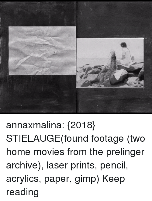 Anna, Gimp, and Movies: annaxmalina: {2018} STIELAUGE(found footage (two home movies from the prelinger archive), laser prints, pencil, acrylics, paper, gimp) Keep reading