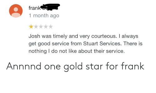 Facepalm, Star, and Gold: Annnnd one gold star for frank