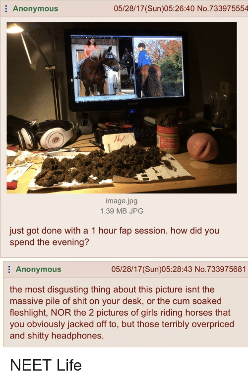 4chan, Cum, and Girls: Anonymous  05/28/17(Sun)05:26:40 No.733975554  image.jpg  1.39 MB JPG  just got done with a 1 hour fap session. how did you  spend the evening?  Anonymous  05/28/17(Sun)05:28:43 No.733975681  the most disgusting thing about this picture isnt the  massive pile of shit on your desk, or the cum soaked  fleshlight, NOR the 2 pictures of girls riding horses that  you obviously jacked off to, but those terribly overpriced  and shitty headphones.