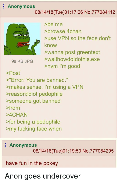 Anonymous 081418Tue011726 No777084112 >be Me >browse 4chan >use VPN