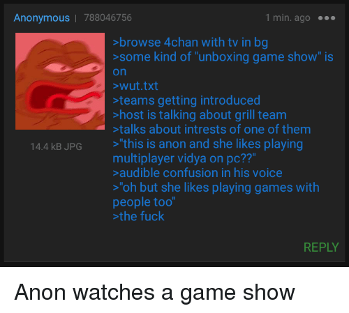 Anonymous | 788046756 1min Ago Browse 4chan With Tv in Bg