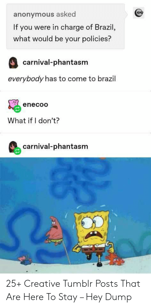 Tumblr, Anonymous, and Brazil: anonymous asked  If you were in charge of Brazil,  what would be your policies?  carnival-phantasm  everybody has to come to brazil  enecoo  What if I don't?  carnival-phantasm 25+ Creative Tumblr Posts That Are Here To Stay – Hey Dump
