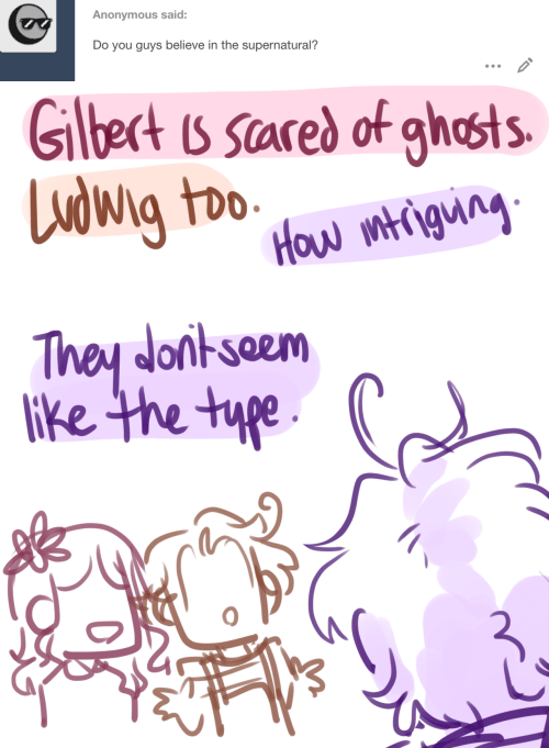 Anonymous, Supernatural, and How: Anonymous said:  Do you guys believe in the supernatural?   Glbect is scared of ghosts  Ludwig too  How mtigung  They donkseem  lke the type