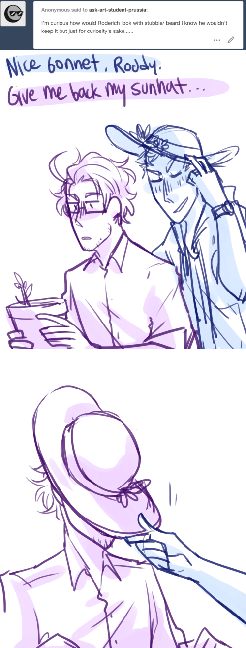 Beard, Anonymous, and Prussia: Anonymous said to ask-art-student-prussia:  I'm curious how would Roderich look with stubble/ beard I know he wouldn't  keep it but just for curiosity's sake...   Nice bonnet, Rody  Give me back W Sunno