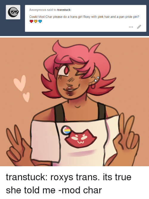 Target, True, and Tumblr: Anonymous said to transtuck  Could Mod Char please do a trans girl Roxy with pink hair and a pan pride pin? transtuck:  roxystrans. its true she told me-mod char