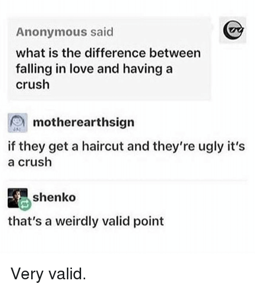Crush, Funny, and Haircut: Anonymous said  what is the difference between  falling in love and having a  crush  motherearthsigrn  motherearthsign  is  if they get a haircut and they're ugly it's  a crush  shenko  that's a weirdly valid point Very valid.