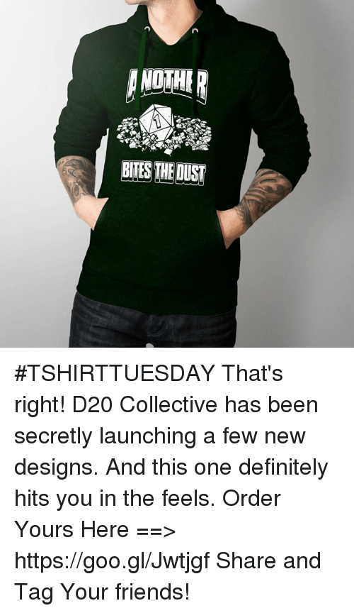 Definitely, Definition, and DnD: ANOTHER  BITES THE DUST #TSHIRTTUESDAY  That's right! D20 Collective has been secretly launching a few new designs. And this one definitely hits you in the feels.  Order Yours Here ==> https://goo.gl/Jwtjgf  Share and Tag Your friends!