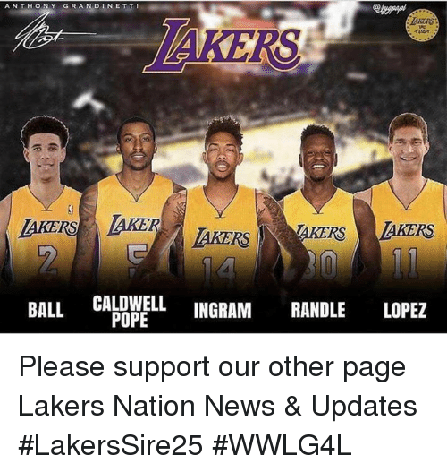 Los Angeles Lakers, Memes, and News: ANTHONY  GRAN DINET TI  TAKERS  ie  rner  AKERS AKER  AKERS TAKERS LAKERS  BALL GALDWELL INGRAM RANDLE LOPEZ Please support our other page Lakers Nation News & Updates  #LakersSire25 #WWLG4L