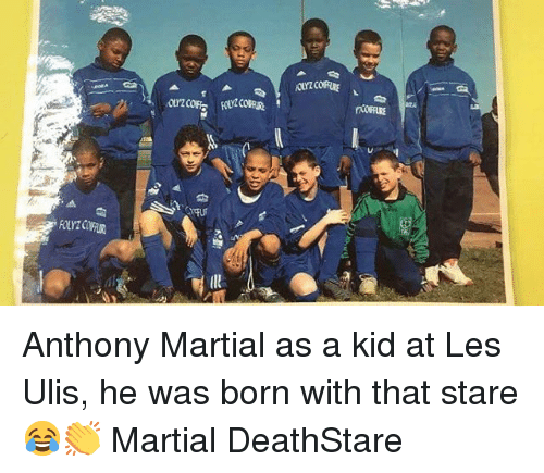 Memes, Martial, and 🤖: Anthony Martial as a kid at Les Ulis, he was born with that stare 😂👏 Martial DeathStare